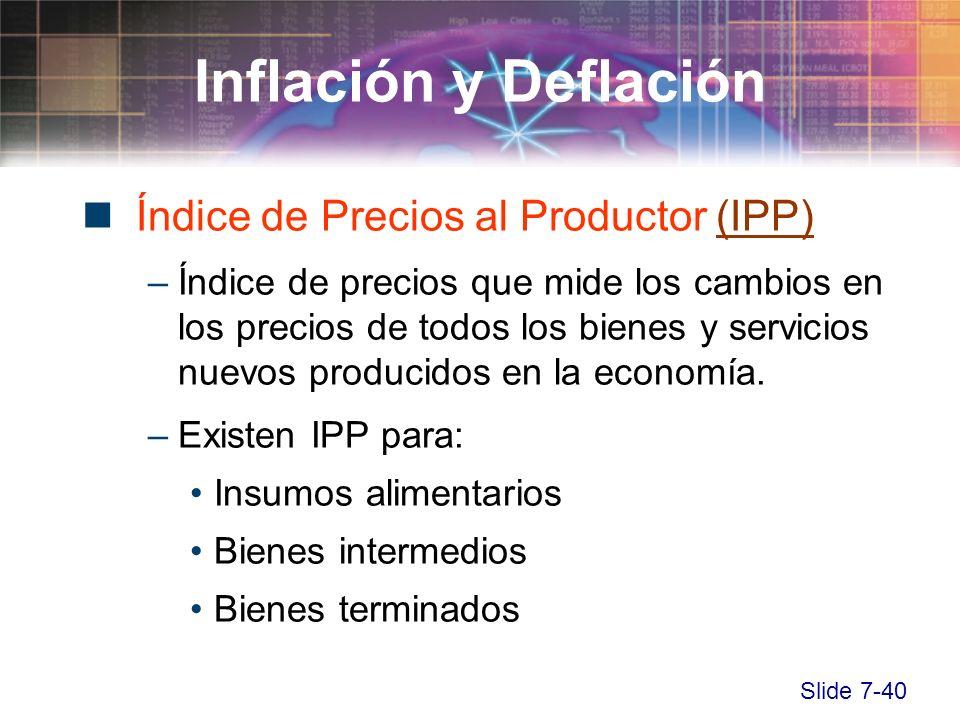 Slide 7-40 Índice de Precios al Productor (IPP)(IPP) –Índice de precios que mide los cambios en los precios de todos los bienes y servicios nuevos pro