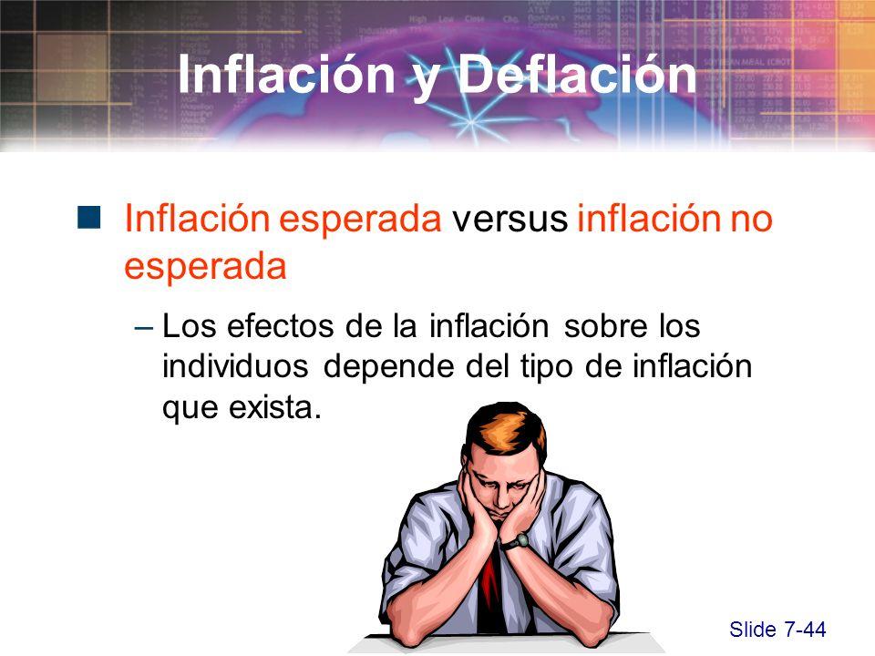 Slide 7-44 Inflación esperada versus inflación no esperada –Los efectos de la inflación sobre los individuos depende del tipo de inflación que exista.