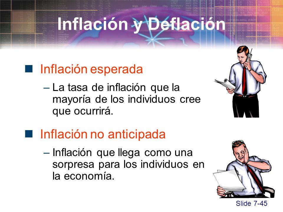 Slide 7-45 Inflación esperada –La tasa de inflación que la mayoría de los individuos cree que ocurrirá. Inflación no anticipada –Inflación que llega c