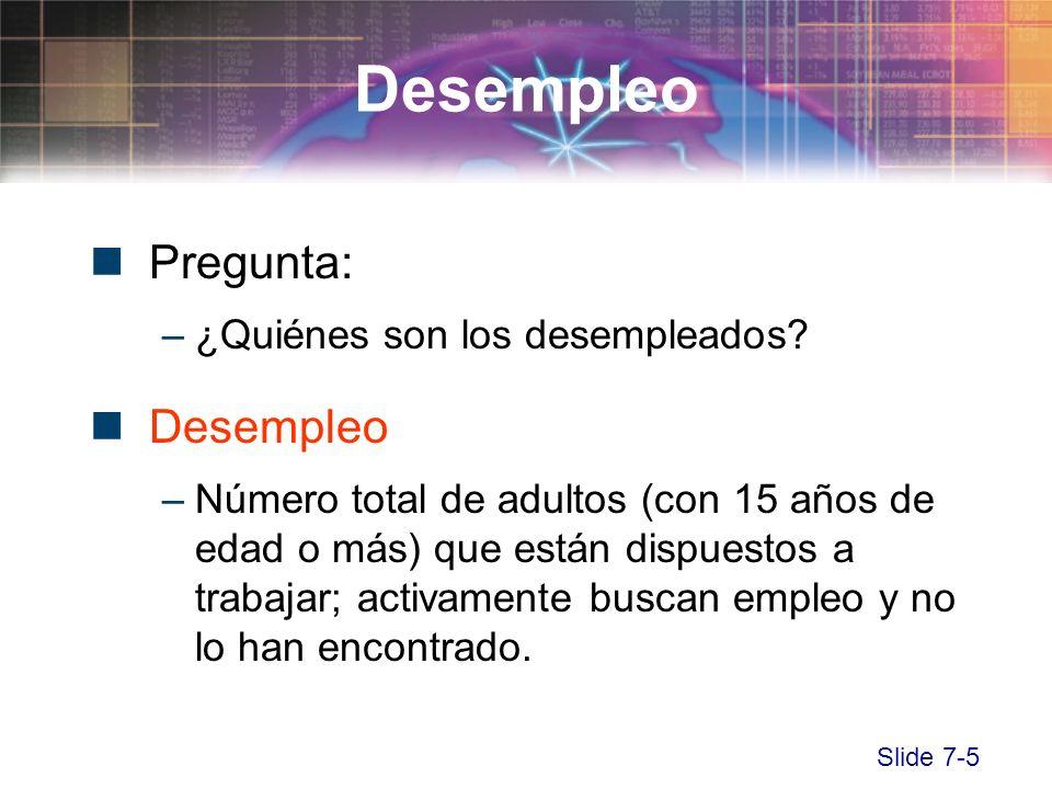 Slide 7-5 Pregunta: –¿Quiénes son los desempleados? Desempleo –Número total de adultos (con 15 años de edad o más) que están dispuestos a trabajar; ac