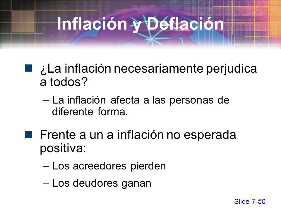 Slide 7-50 ¿La inflación necesariamente perjudica a todos? –La inflación afecta a las personas de diferente forma. Frente a un a inflación no esperada