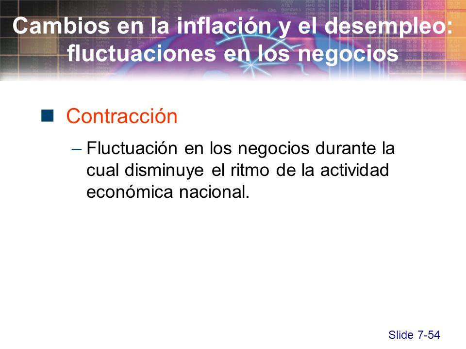 Slide 7-54 Contracción –Fluctuación en los negocios durante la cual disminuye el ritmo de la actividad económica nacional. Cambios en la inflación y e