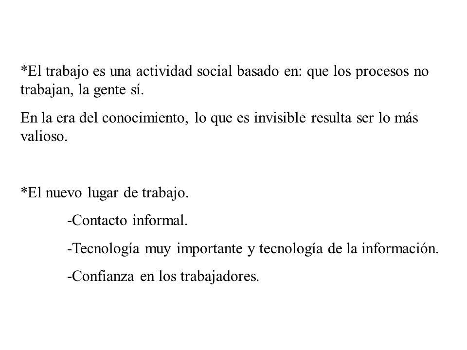 *El trabajo es una actividad social basado en: que los procesos no trabajan, la gente sí. En la era del conocimiento, lo que es invisible resulta ser