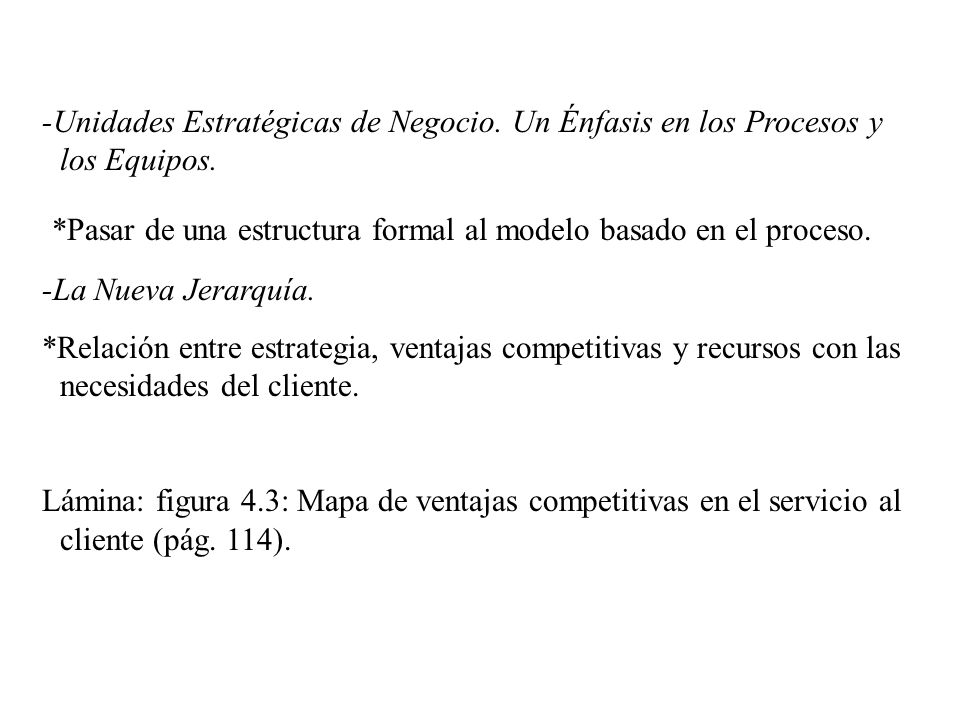 -Unidades Estratégicas de Negocio. Un Énfasis en los Procesos y los Equipos. *Pasar de una estructura formal al modelo basado en el proceso. -La Nueva