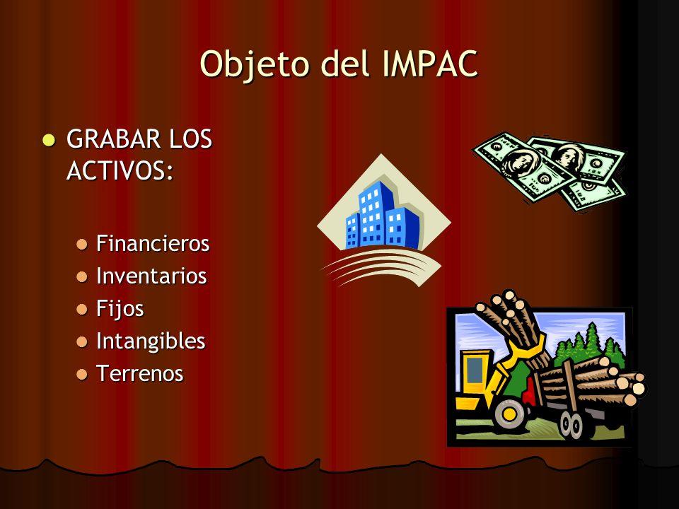 Objeto del IMPAC GRABAR LOS ACTIVOS: GRABAR LOS ACTIVOS: Financieros Financieros Inventarios Inventarios Fijos Fijos Intangibles Intangibles Terrenos