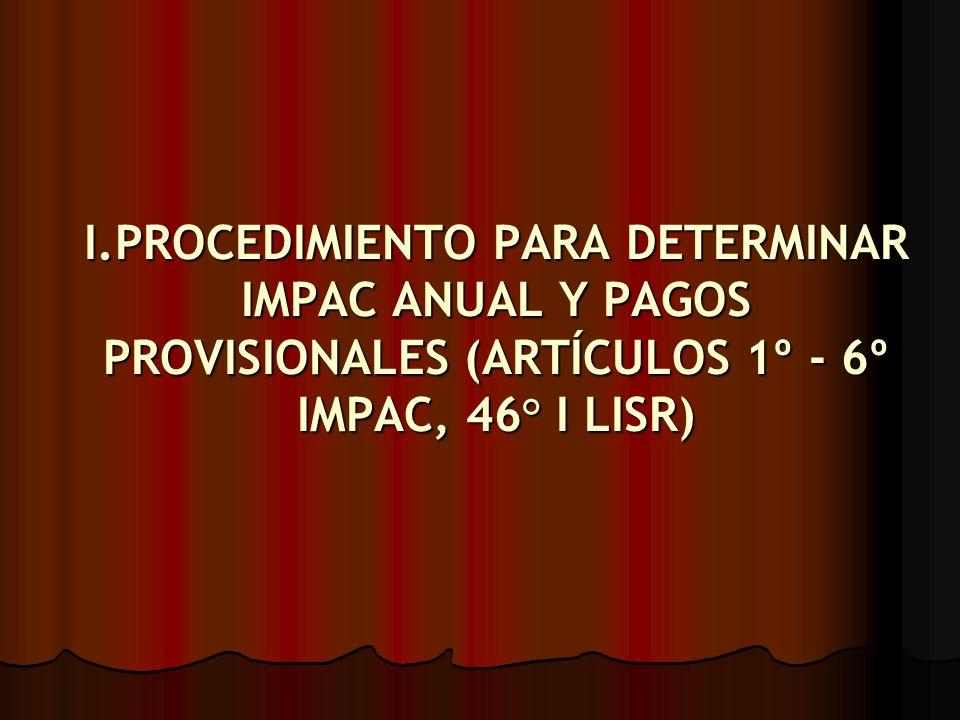 I.PROCEDIMIENTO PARA DETERMINAR IMPAC ANUAL Y PAGOS PROVISIONALES (ARTÍCULOS 1º - 6º IMPAC, 46° I LISR)