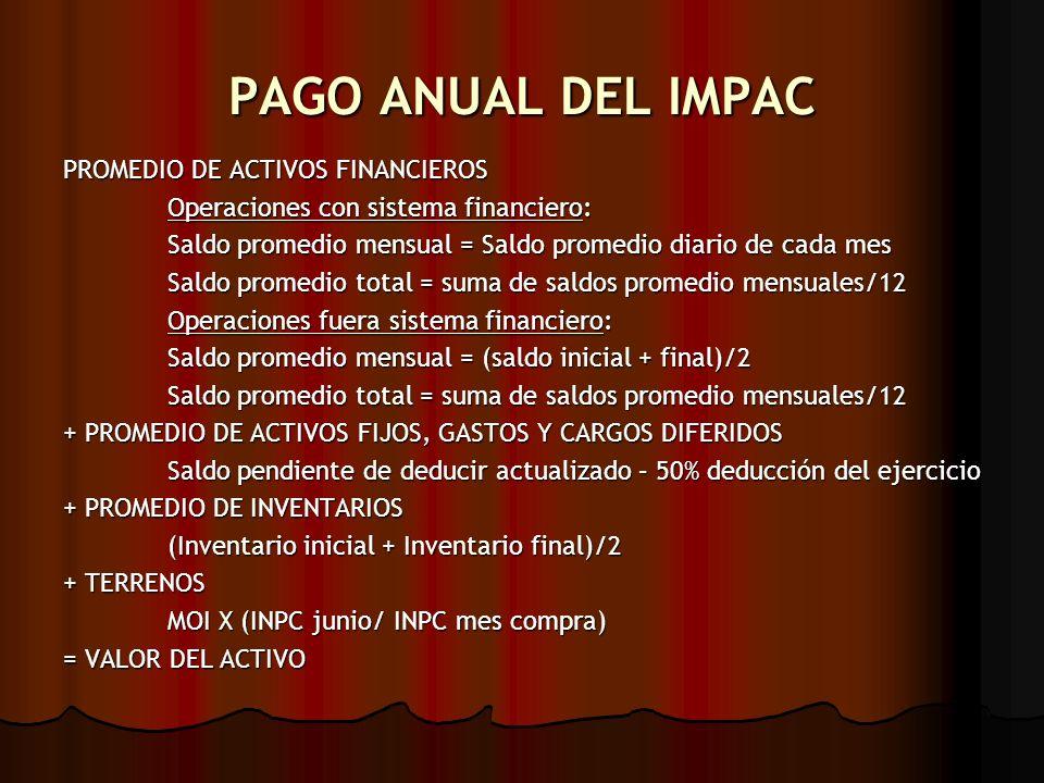 PAGO ANUAL DEL IMPAC PROMEDIO DE ACTIVOS FINANCIEROS Operaciones con sistema financiero: Operaciones con sistema financiero: Saldo promedio mensual =