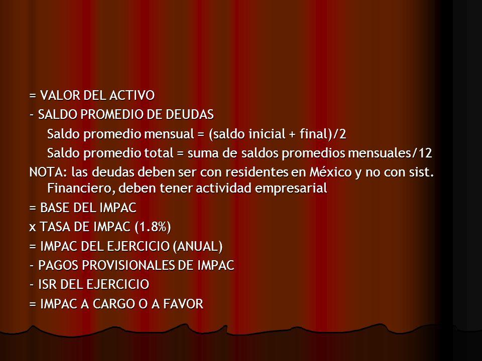 PAGOS PROVISIONALES IMPAC DEL EJERCICIO (ANUAL 2002) X FACTOR DE ACTUALIZACIÓN (DIC 02/DIC 01) = IMPAC ACTUALIZADO / 12 = PAGOS PROVISIONALES DE IMPAC PARA EL 2003