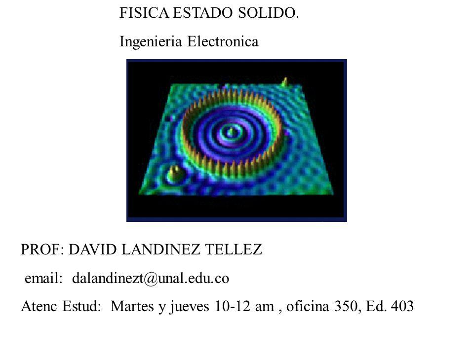 FISICA ESTADO SOLIDO. Ingenieria Electronica PROF: DAVID LANDINEZ TELLEZ email: dalandinezt@unal.edu.co Atenc Estud: Martes y jueves 10-12 am, oficina