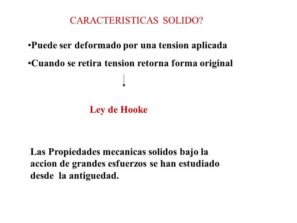 CARACTERISTICAS SOLIDO? Puede ser deformado por una tension aplicada Cuando se retira tension retorna forma original Ley de Hooke Las Propiedades meca
