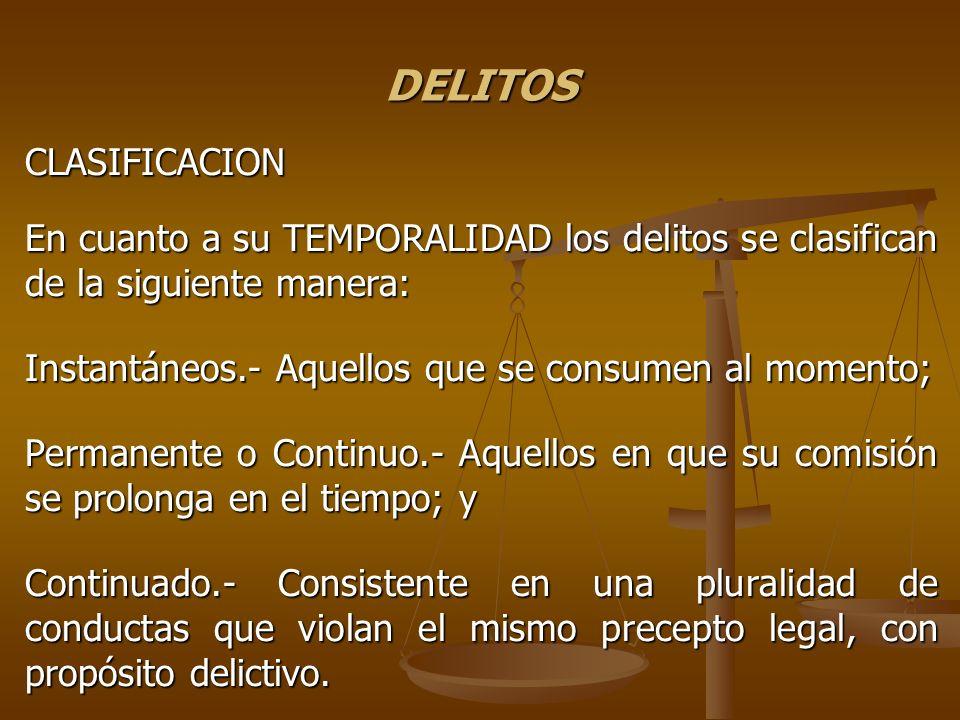 DELITOS CLASIFICACION En cuanto a su TEMPORALIDAD los delitos se clasifican de la siguiente manera: Instantáneos.- Aquellos que se consumen al momento