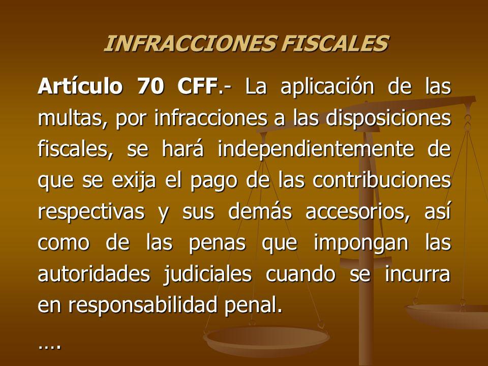 INFRACCIONES FISCALES Artículo 70 CFF.- La aplicación de las multas, por infracciones a las disposiciones fiscales, se hará independientemente de que