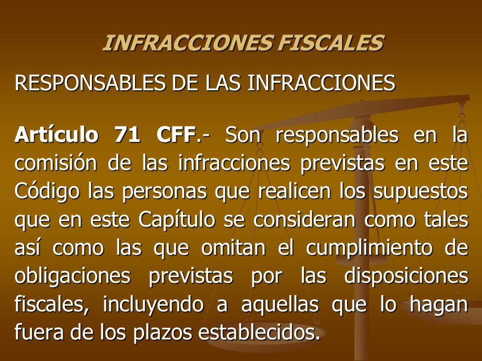 INFRACCIONES FISCALES RESPONSABLES DE LAS INFRACCIONES Artículo 71 CFF.- Son responsables en la comisión de las infracciones previstas en este Código