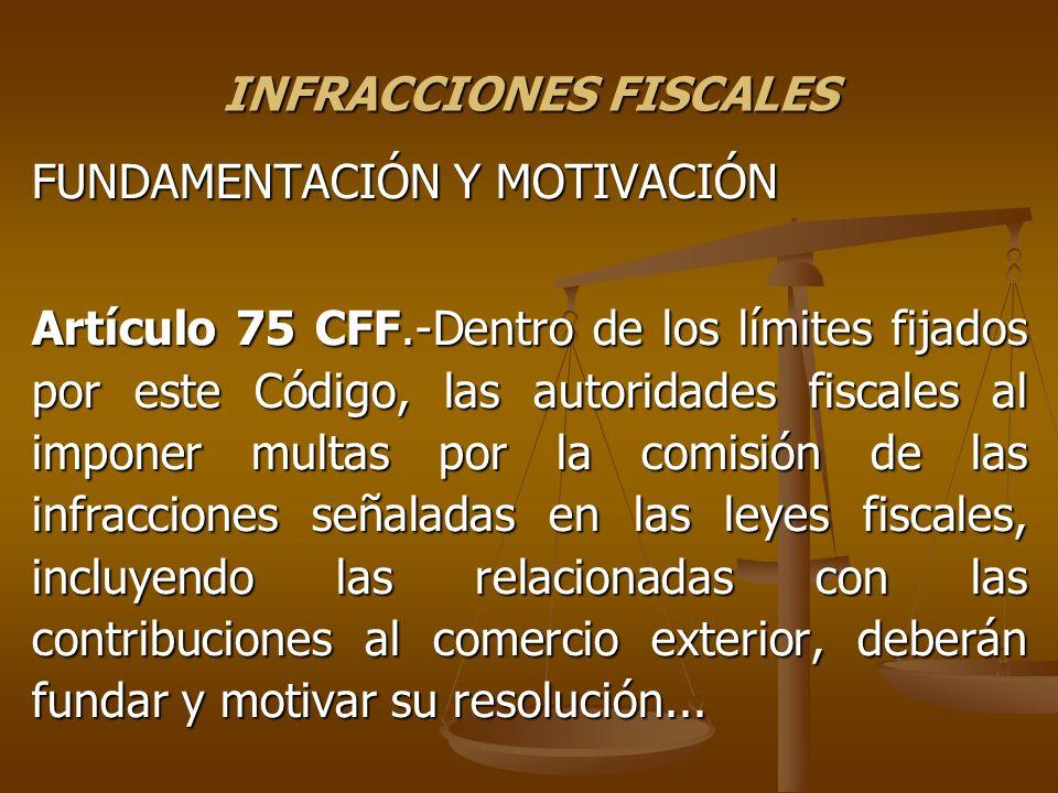 INFRACCIONES FISCALES FUNDAMENTACIÓN Y MOTIVACIÓN Artículo 75 CFF.-Dentro de los límites fijados por este Código, las autoridades fiscales al imponer