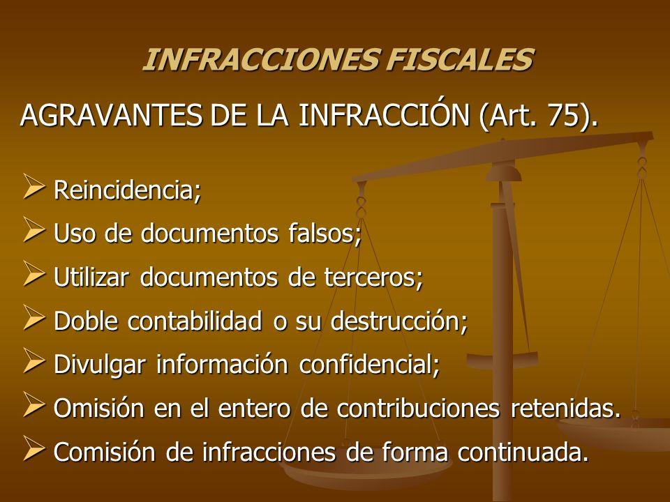 INFRACCIONES FISCALES AGRAVANTES DE LA INFRACCIÓN (Art. 75). Reincidencia; Reincidencia; Uso de documentos falsos; Uso de documentos falsos; Utilizar
