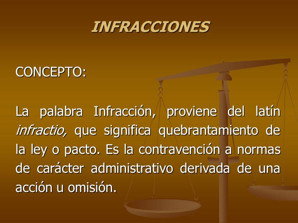 INFRACCIONES CONCEPTO: La palabra Infracción, proviene del latín infractio, que significa quebrantamiento de la ley o pacto. Es la contravención a nor