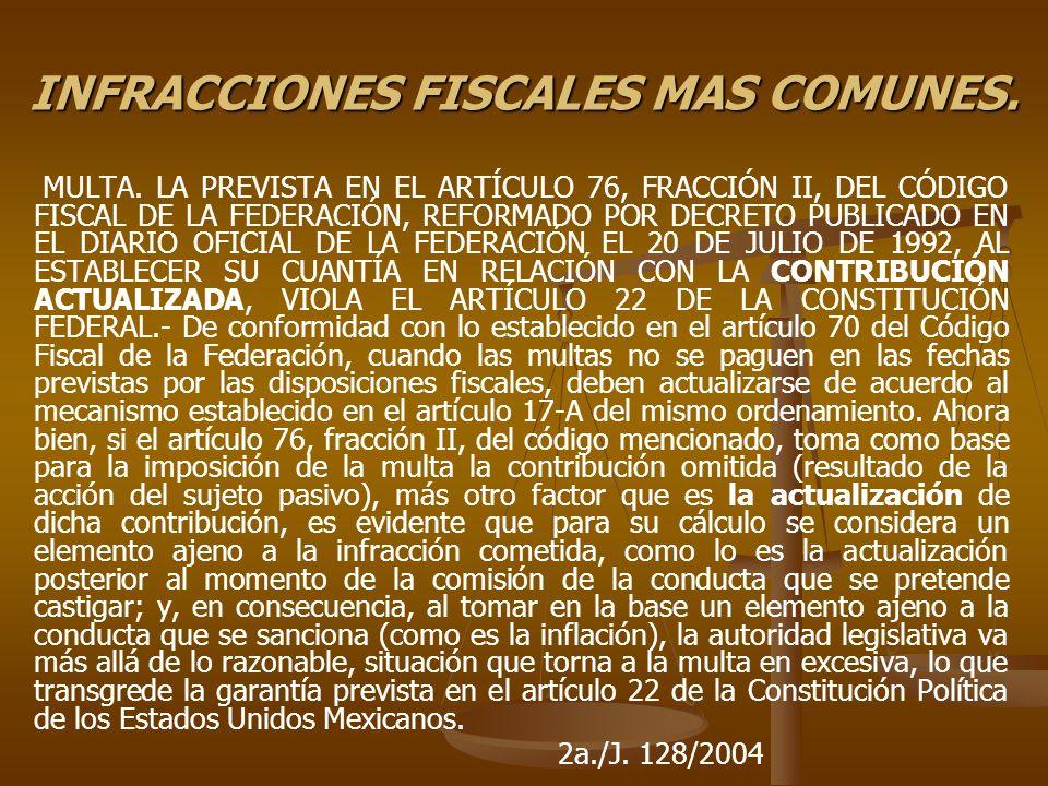 INFRACCIONES FISCALES MAS COMUNES. MULTA. LA PREVISTA EN EL ARTÍCULO 76, FRACCIÓN II, DEL CÓDIGO FISCAL DE LA FEDERACIÓN, REFORMADO POR DECRETO PUBLIC