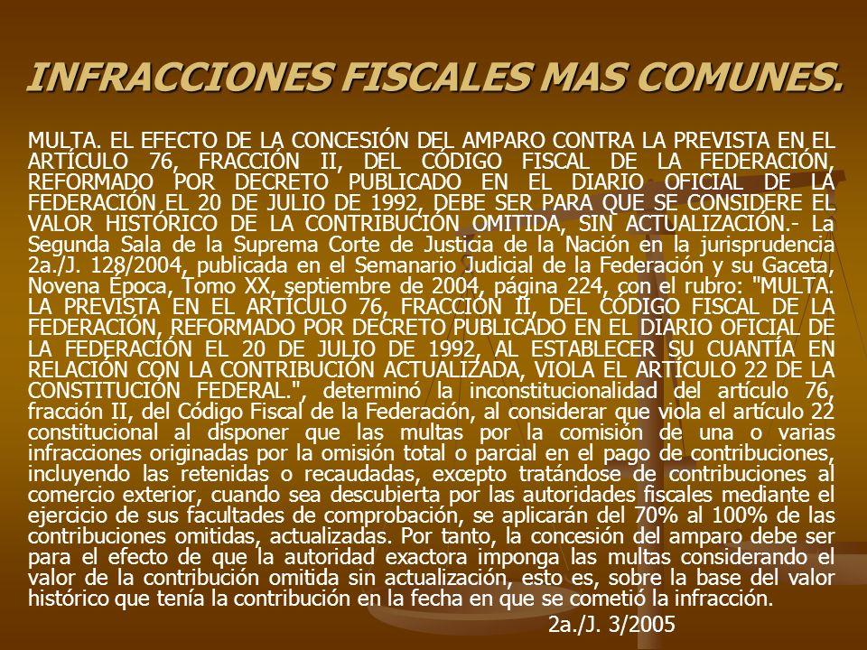 INFRACCIONES FISCALES MAS COMUNES. MULTA. EL EFECTO DE LA CONCESIÓN DEL AMPARO CONTRA LA PREVISTA EN EL ARTÍCULO 76, FRACCIÓN II, DEL CÓDIGO FISCAL DE