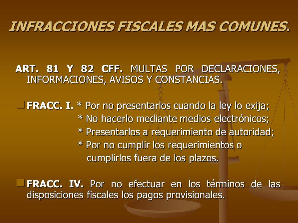 INFRACCIONES FISCALES MAS COMUNES. ART. 81 Y 82 CFF. MULTAS POR DECLARACIONES, INFORMACIONES, AVISOS Y CONSTANCIAS. FRACC. I. * Por no presentarlos cu