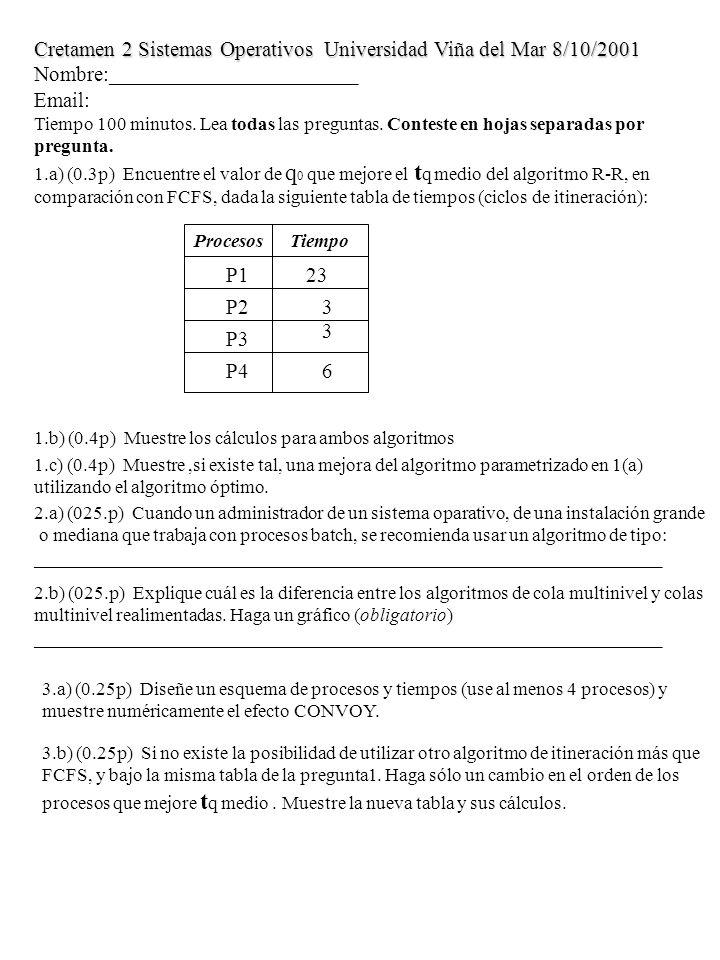 Cretamen 2 Sistemas Operativos Universidad Viña del Mar 8/10/2001 Nombre:_______________________ Email: Tiempo 100 minutos.