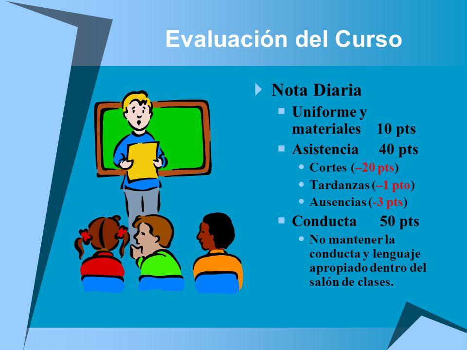 Evaluación del Curso Nota Diaria Uniforme y materiales 10 pts Asistencia 40 pts Cortes (–20 pts) Tardanzas (–1 pto) Ausencias (-3 pts) Conducta 50 pts
