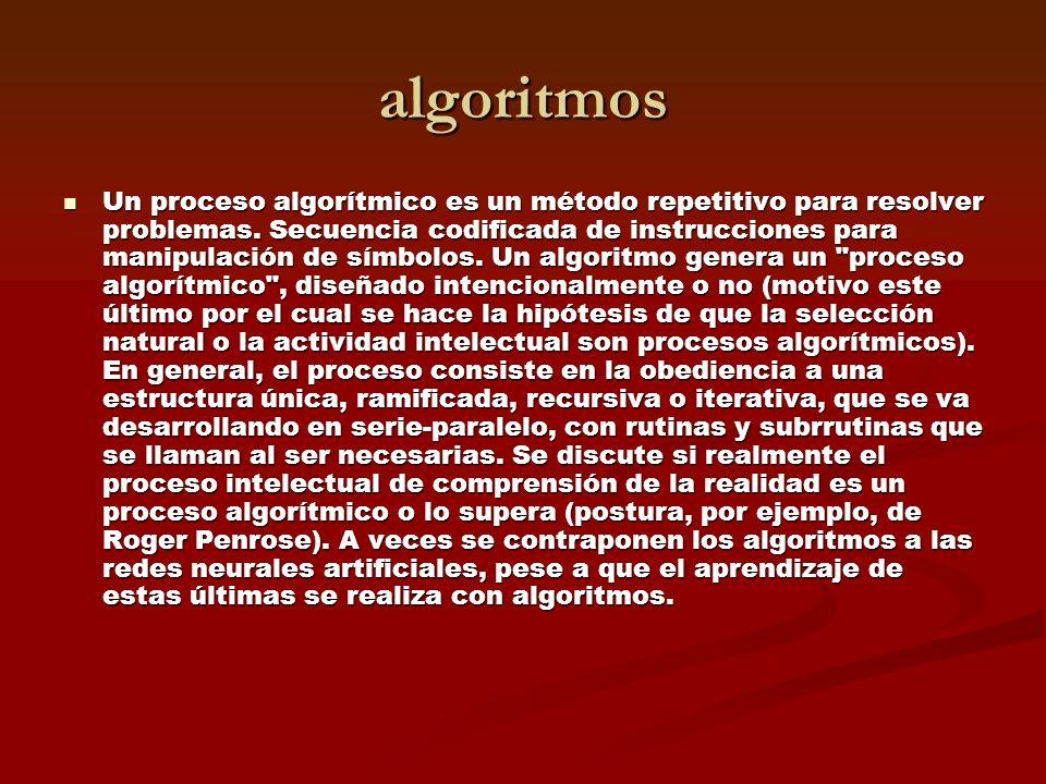 algoritmos Un proceso algorítmico es un método repetitivo para resolver problemas.