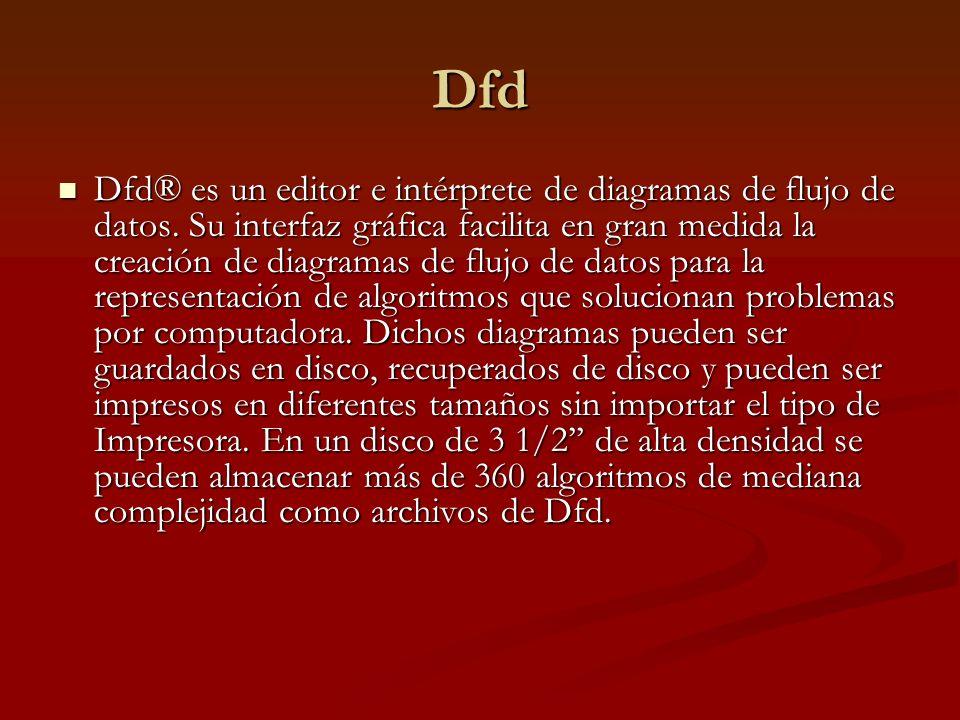 Dfd Dfd® es un editor e intérprete de diagramas de flujo de datos.