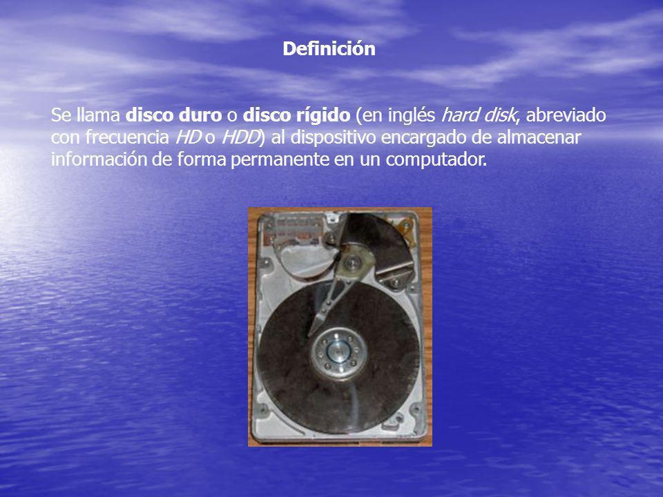 Definición Se llama disco duro o disco rígido (en inglés hard disk, abreviado con frecuencia HD o HDD) al dispositivo encargado de almacenar informaci