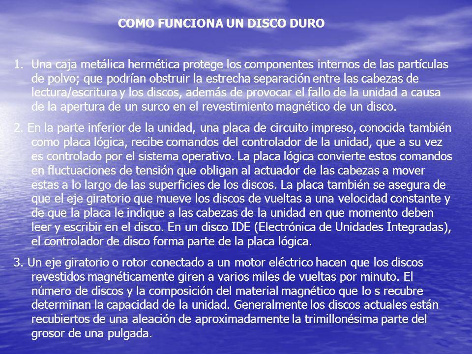 COMO FUNCIONA UN DISCO DURO 1.Una caja metálica hermética protege los componentes internos de las partículas de polvo; que podrían obstruir la estrech