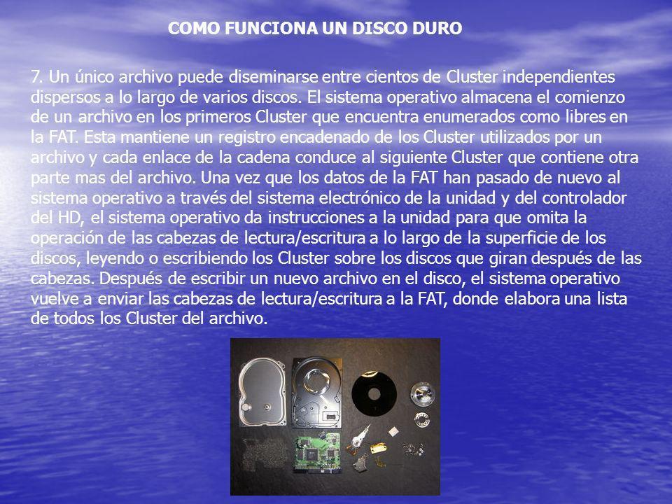 COMO FUNCIONA UN DISCO DURO 7. Un único archivo puede diseminarse entre cientos de Cluster independientes dispersos a lo largo de varios discos. El si