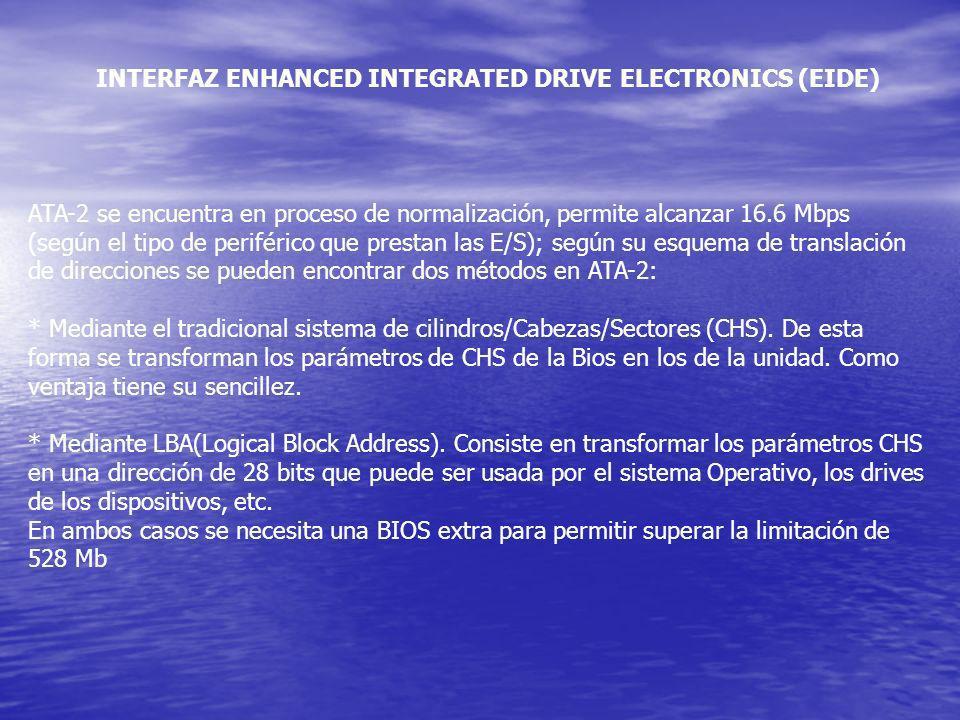 INTERFAZ ENHANCED INTEGRATED DRIVE ELECTRONICS (EIDE) ATA-2 se encuentra en proceso de normalización, permite alcanzar 16.6 Mbps (según el tipo de per