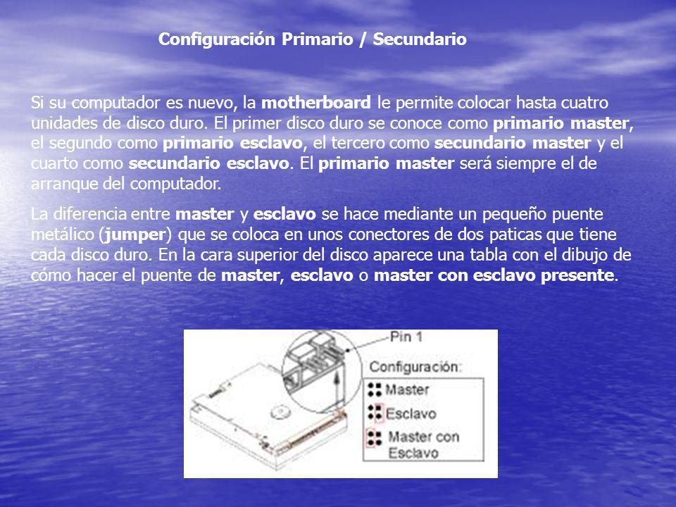 Si su computador es nuevo, la motherboard le permite colocar hasta cuatro unidades de disco duro. El primer disco duro se conoce como primario master,