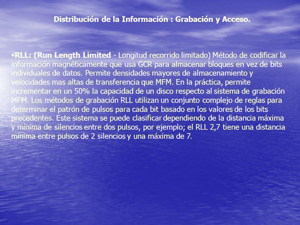 RLL: (Run Length Limited - Longitud recorrido limitado) Método de codificar la información magnéticamente que usa GCR para almacenar bloques en vez d