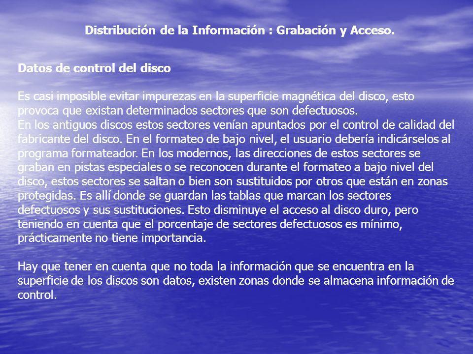 Distribución de la Información : Grabación y Acceso. Datos de control del disco Es casi imposible evitar impurezas en la superficie magnética del disc
