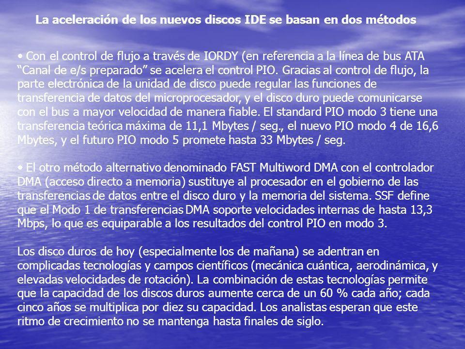 La aceleración de los nuevos discos IDE se basan en dos métodos Con el control de flujo a través de IORDY (en referencia a la línea de bus ATA Canal d