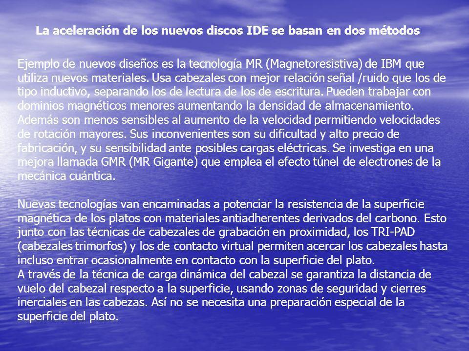 Ejemplo de nuevos diseños es la tecnología MR (Magnetoresistiva) de IBM que utiliza nuevos materiales. Usa cabezales con mejor relación señal /ruido q