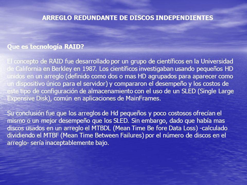 ARREGLO REDUNDANTE DE DISCOS INDEPENDIENTES Que es tecnología RAID? El concepto de RAID fue desarrollado por un grupo de científicos en la Universidad