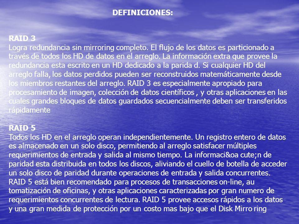 RAID 3 Logra redundancia sin mirroring completo. El flujo de los datos es particionado a través de todos los HD de datos en el arreglo. La información