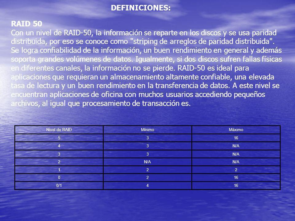 DEFINICIONES: RAID 50 Con un nivel de RAID-50, la información se reparte en los discos y se usa paridad distribuida, por eso se conoce como