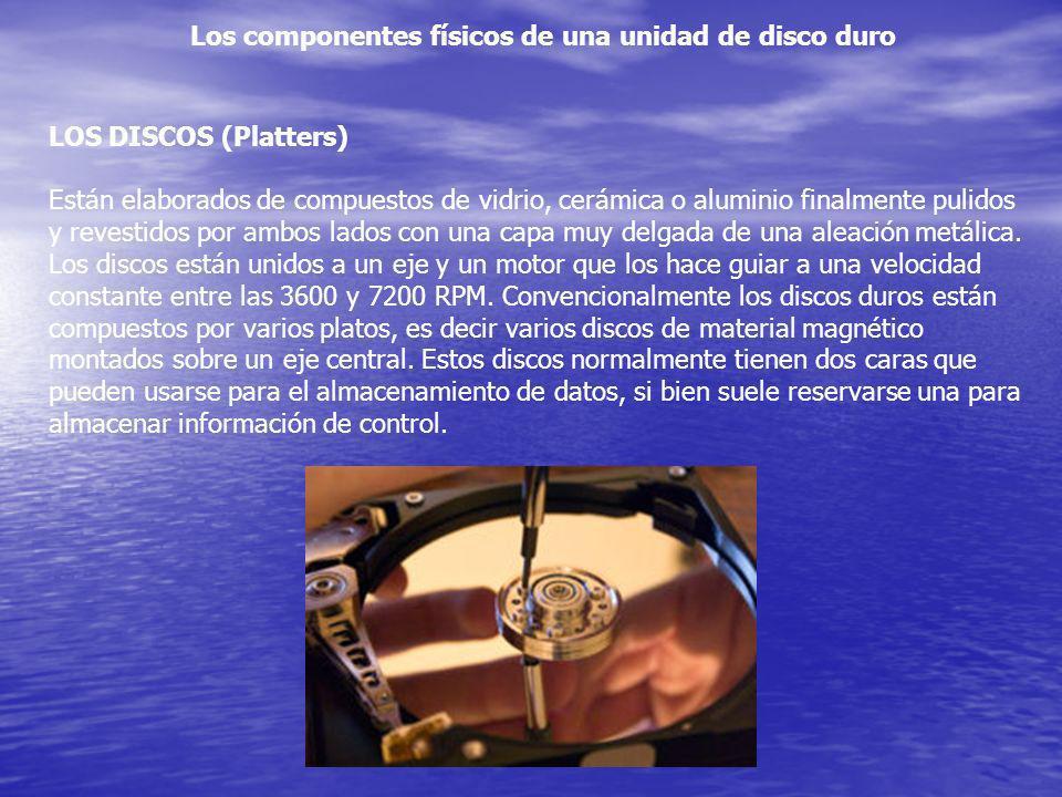 Los componentes físicos de una unidad de disco duro LOS DISCOS (Platters) Están elaborados de compuestos de vidrio, cerámica o aluminio finalmente pul