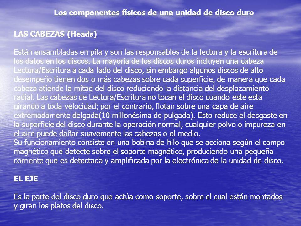 Los componentes físicos de una unidad de disco duro LAS CABEZAS (Heads) Están ensambladas en pila y son las responsables de la lectura y la escritura