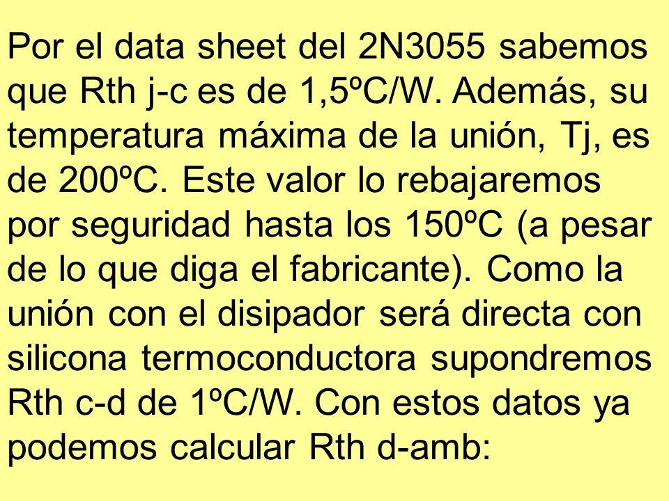 Por el data sheet del 2N3055 sabemos que Rth j-c es de 1,5ºC/W. Además, su temperatura máxima de la unión, Tj, es de 200ºC. Este valor lo rebajaremos