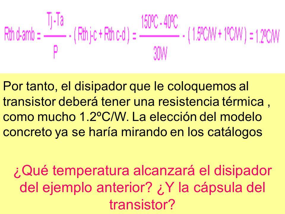 Por tanto, el disipador que le coloquemos al transistor deberá tener una resistencia térmica, como mucho 1.2ºC/W. La elección del modelo concreto ya s