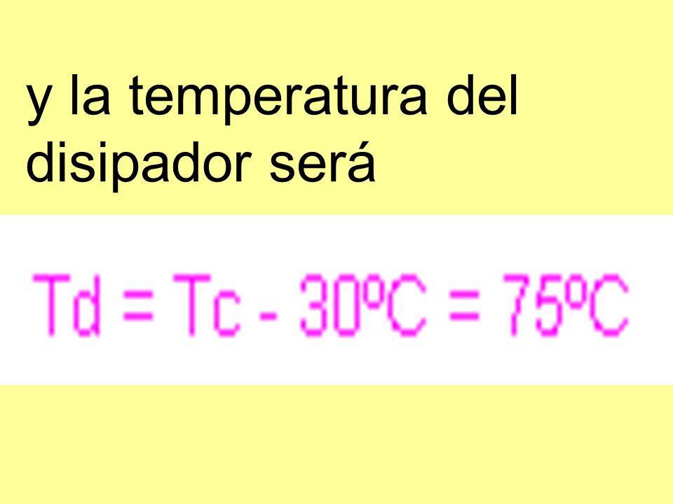 y la temperatura del disipador será