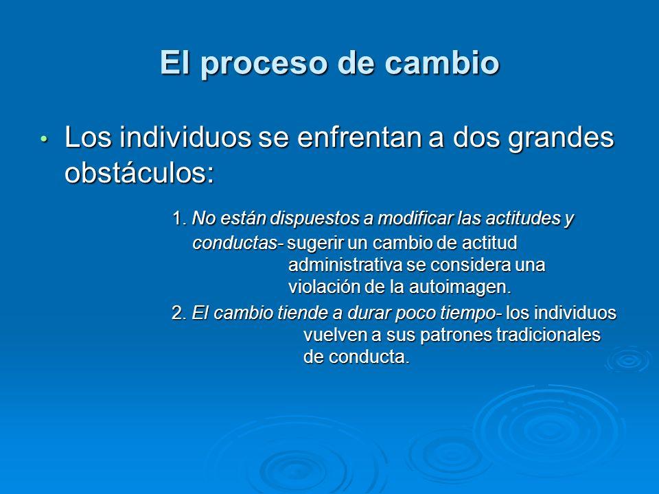 El proceso de cambio Los individuos se enfrentan a dos grandes obstáculos: Los individuos se enfrentan a dos grandes obstáculos: 1. No están dispuesto
