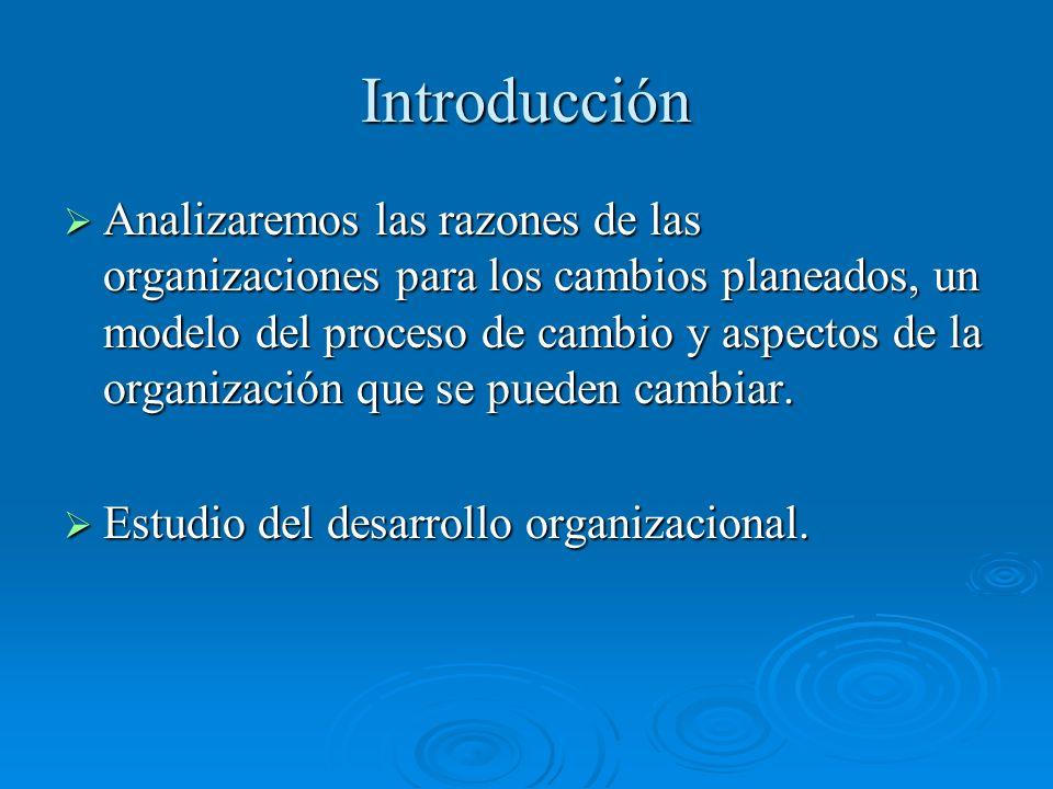 Introducción Analizaremos las razones de las organizaciones para los cambios planeados, un modelo del proceso de cambio y aspectos de la organización