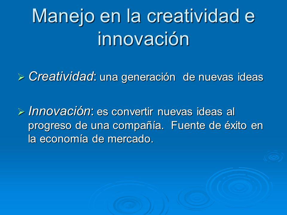 Manejo en la creatividad e innovación Creatividad: una generación de nuevas ideas Creatividad: una generación de nuevas ideas Innovación: es convertir