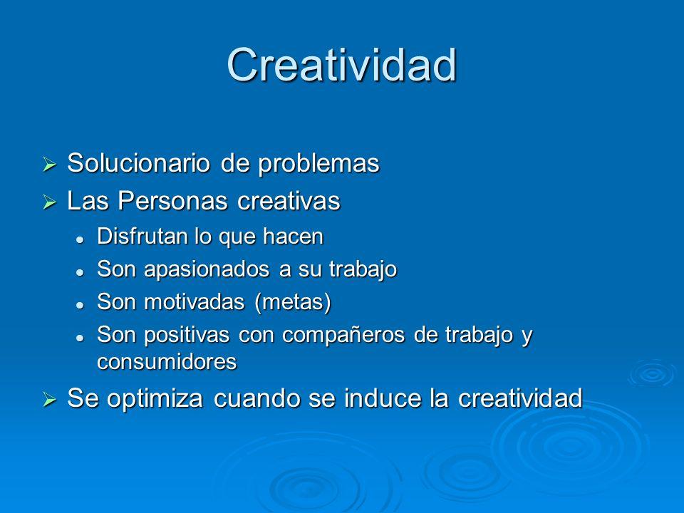 Creatividad Solucionario de problemas Solucionario de problemas Las Personas creativas Las Personas creativas Disfrutan lo que hacen Disfrutan lo que