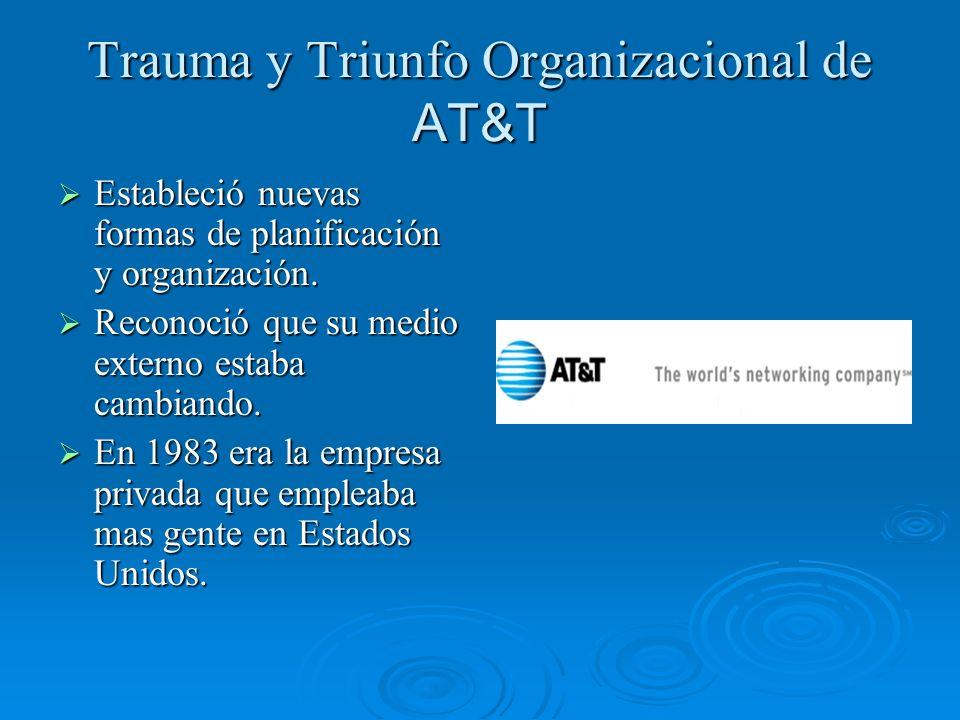 Trauma y Triunfo Organizacional de AT&T Estableció nuevas formas de planificación y organización. Estableció nuevas formas de planificación y organiza