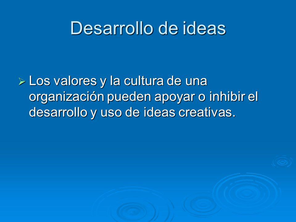 Desarrollo de ideas Los valores y la cultura de una organización pueden apoyar o inhibir el desarrollo y uso de ideas creativas. Los valores y la cult